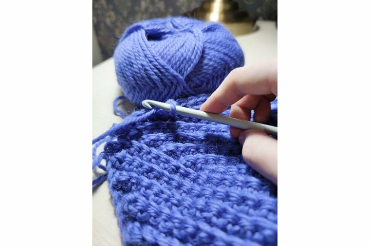 Knitting crochet wool acrylic yarn thread hook craft photo