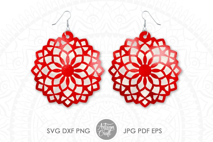 Mandala earring SVG, Floral Earrings SVG, Cut Files