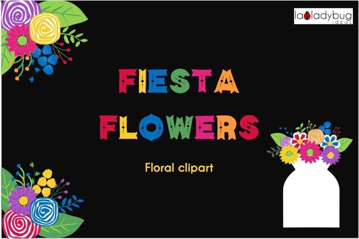 Fiesta flowers clipart set. Fiesta floral clip art. PNG
