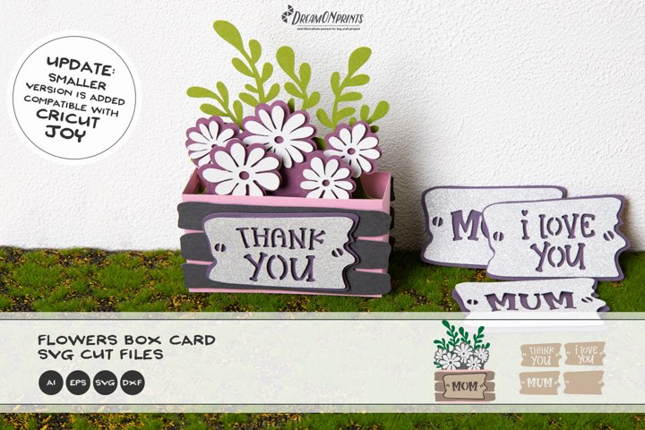 Flowers Box Card SVG   Mothers Day SVG 3D Layered Design