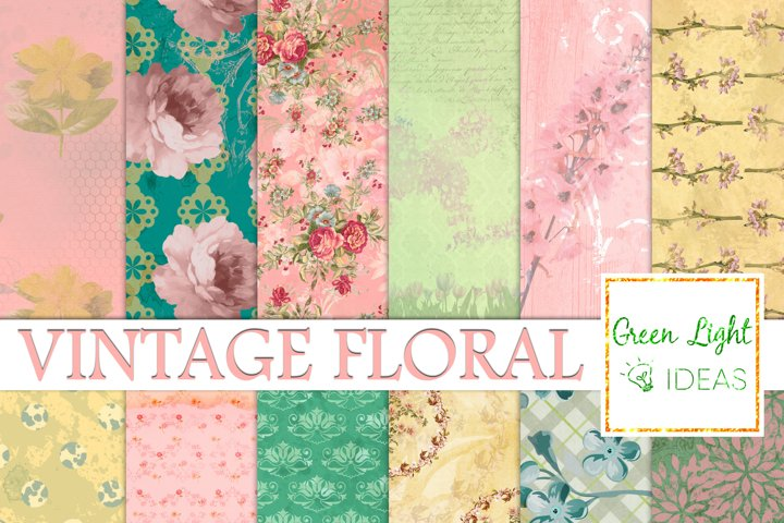 Vintage Floral Digital Papers, Shabby Chic Scrapbook Papers