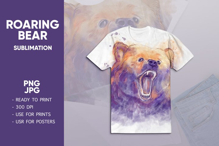 Watercolor bear head. Bear sublimation png. Animals png