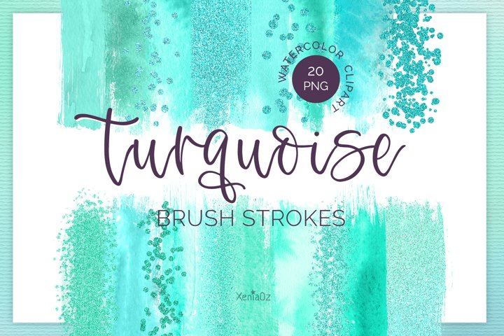 Turquoise Brush Strokes Clipart, Watercolor Clipart, PNG