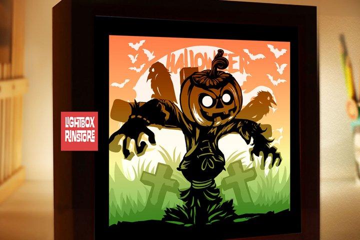 Happy Halloween 3D Shadow box Paper Cut Lightbox