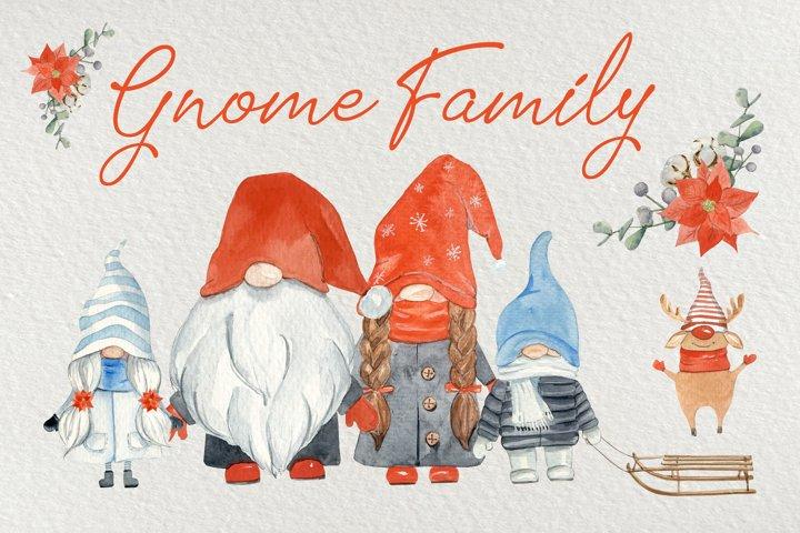 Gnome Family Watercolor Clip Art Set