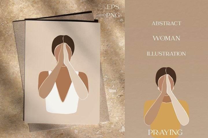 Pray for the world, abstract illustration of praying woman