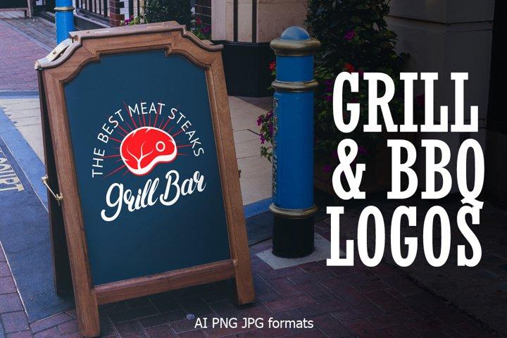 Barbeque & Grill bar vector logo set