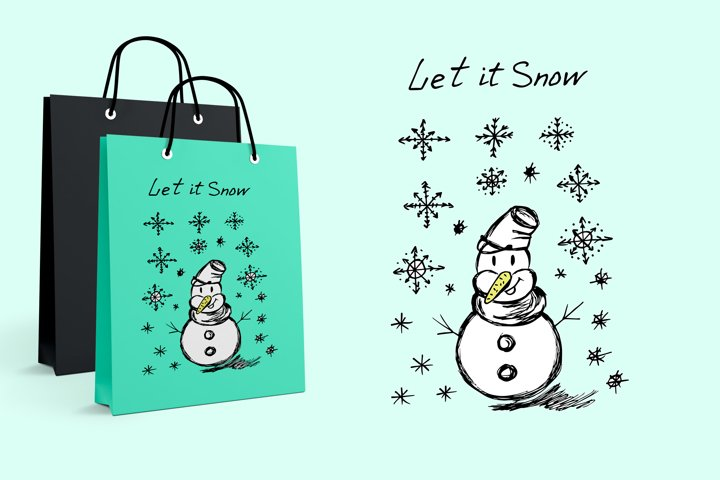 Snowman. Its snowing. Snowflakes. Winter illustration