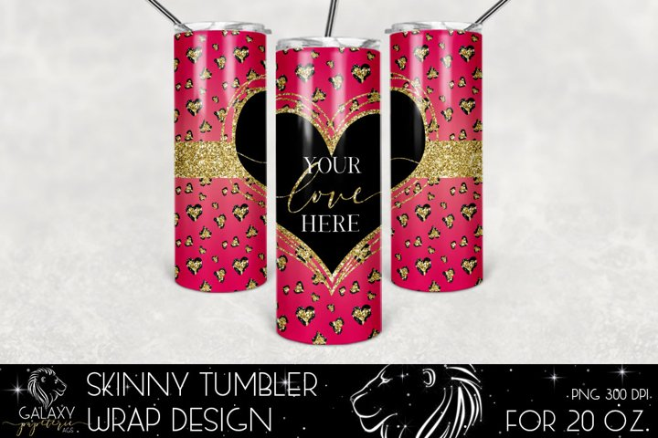 Valentines Leopard 20 Oz. Skinny Tumbler Wrap Sublimation