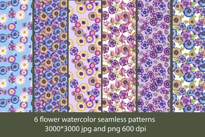 6 flower watercolor seamless patterns
