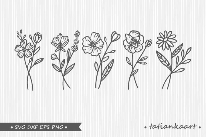 Wildflowers bouquets svg bundles