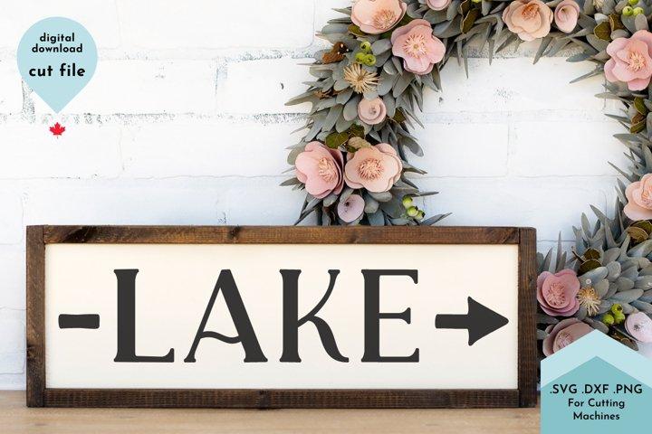 Lake with Arrow Sign, Beach House Decor SVG