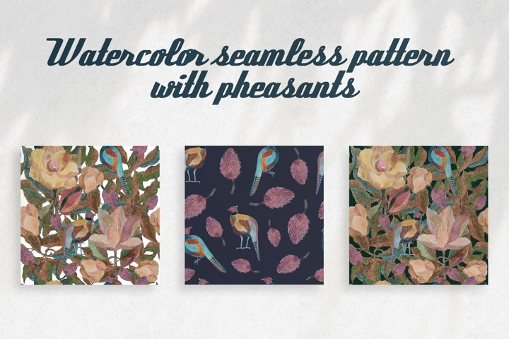 Pattern with pheasant and magnolia