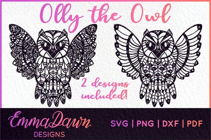 OLLY THE OWL SVG MANDALA / ZENTANGLE 2 DESIGNS