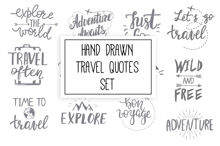 Hand drawn travel quotes set