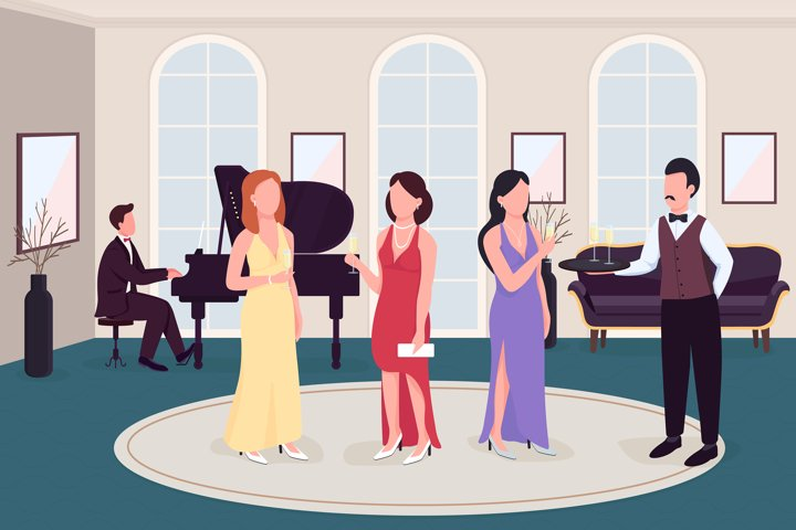 Luxury cocktail party flat color vector illustration example