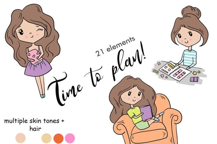 Functional Girls TIME TO PLAN Decorative StIckers Lover PNG