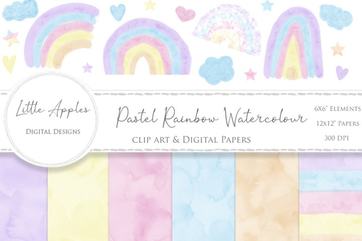 Watercolour pastel rainbow clipart and digital papers modern