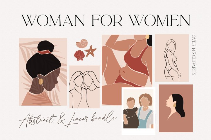 Woman for women. Abstract and linear bundle