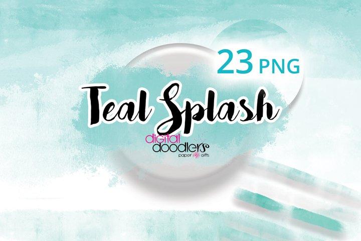 Teal Watercolor Splash Graphics & Borders