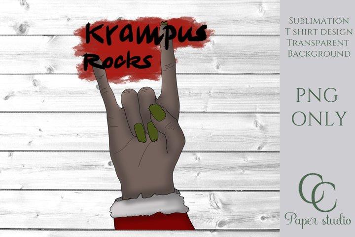 Sublimation design - Krampus Rocks Christmas love design