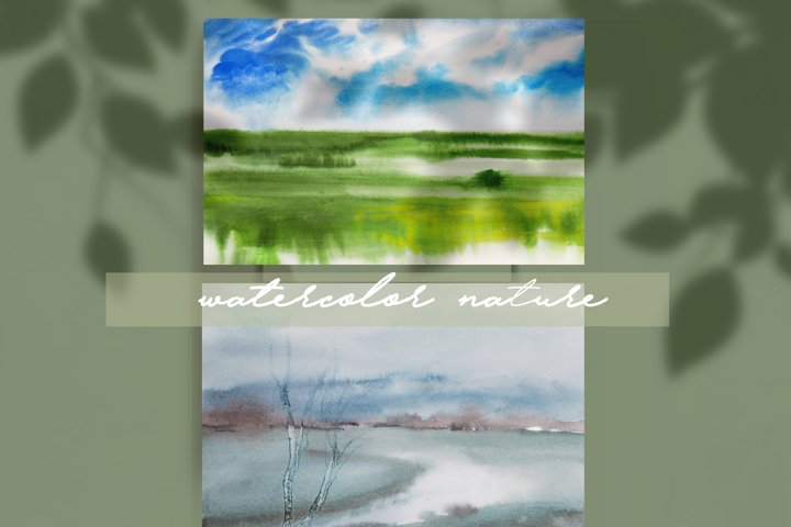 watercolor nature and landscape summer