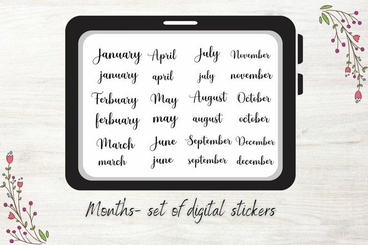 Handwritten Month Names, GoodNotes Stickers, Digital Bullet