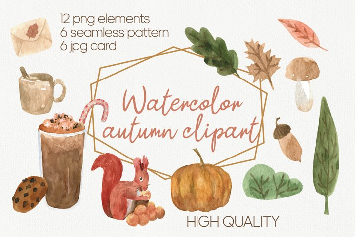Hello fall PNG watercolor clipart, cute fall clipart
