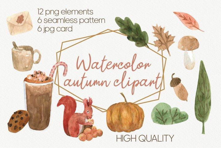 Hello Autumn, Fall watercolor clipart, cute set