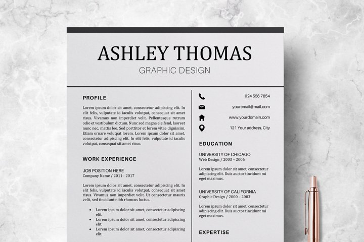 Resume | CV Template Cover Letter - Ashley Thomas