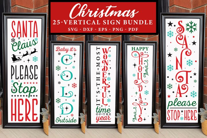 Christmas Vertical Sign Bundle, 25 Christmas Porch Signs SVG