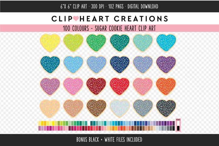 Heart Sugar Cookie Clipart - 100 Colours