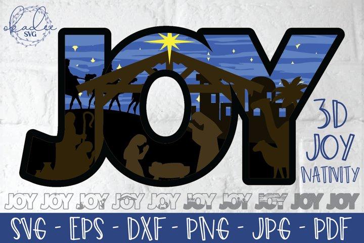 3D Joy SVG, Layered Nativity Cut File, 3D Christmas DXF, EPS