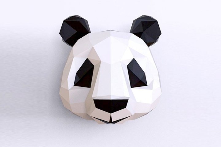 Paper cut panda low poly