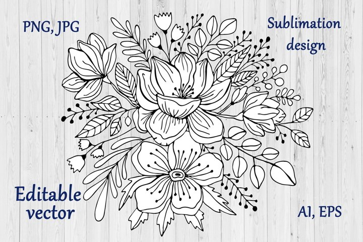 Flowers Bouquet Line Art Sublimation Design - Floral Art