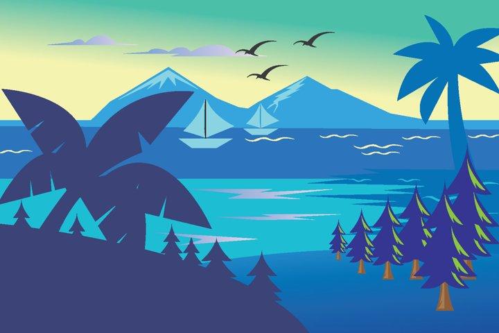 beach landscape vector illustration
