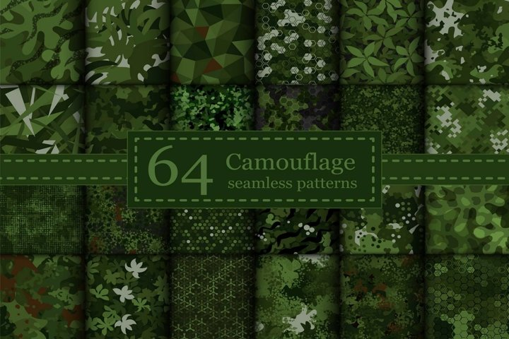 64 Vector digital green camouflage seamless pattern set
