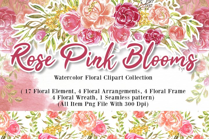 Rose pink blooms watercolor set with pattern