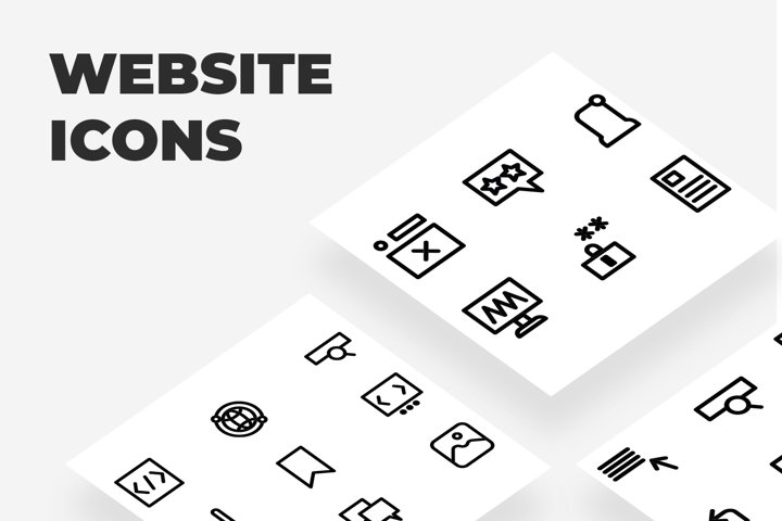25 Black Minimalist Premium Website Line Icon Set