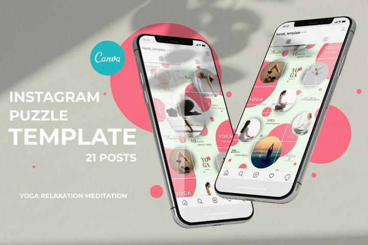 Instagram Puzzle feed template with circles. Canva template