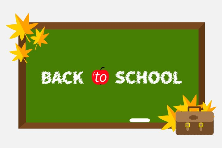 Green board, schoolbag, maple leafs. Back to school