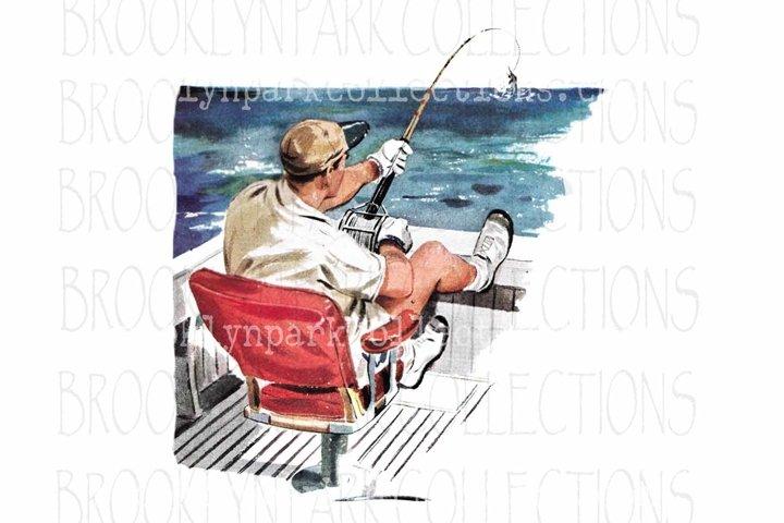 Vintage Boat, Fishing, Clip Art Print, Sublimation PNG