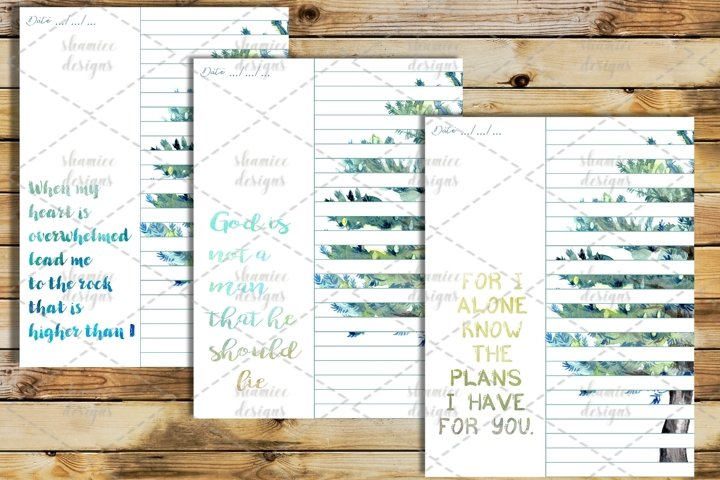 Green Watercolor Bible study journal printable pages
