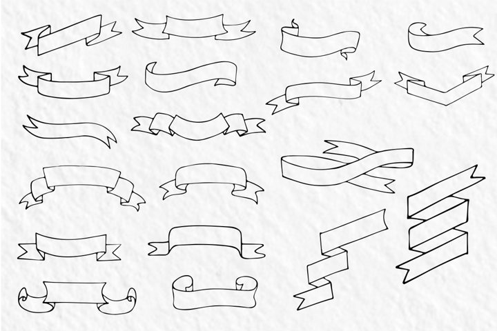 20 hand-drawn ribbons, banners - Free Design of The Week Design2