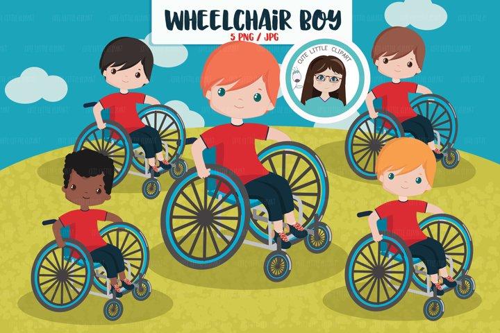 Wheelchair boy clipart