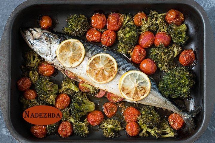 Mackerel baked with vegetables