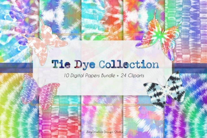 Colorful Tie Dye Digital Papers and Butterflies Bundle