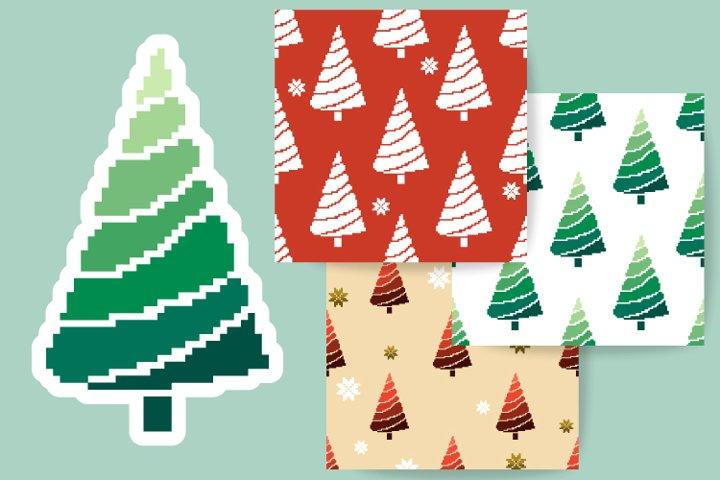 Christmas patterns, tree. Pixel art 8 bit.