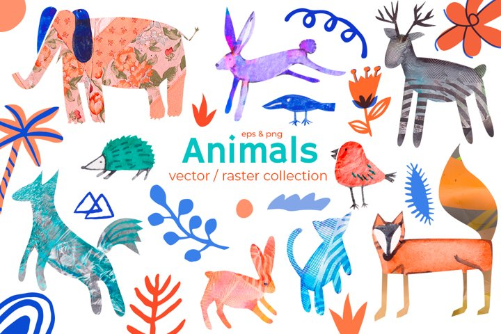Cute animals on wild textures