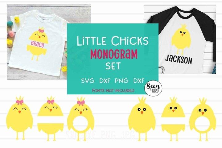 Little Chicks Monogram Set Easter SVG